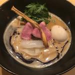 紫 くろ喜 - 鴨白湯そば(1,000円)+ 味玉(100円) 2017.5