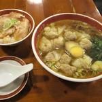 広州市場 - ランチ雲呑麺(煮豚飯付)セット