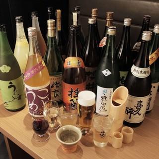 レアな本格焼酎約100種と極上の日本酒・梅酒が味わえます