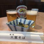 大富そば - 料理写真:瓶ビール¥550 つきだしセットなってます。 かぼちゃと茄子炊いたん
