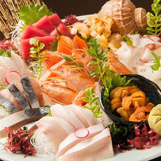 北海道漁港直送の新鮮な鮮魚を使用
