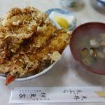 天丼 天ぷら 伊豆家 - 天丼 1200円 + 大盛 100円 + 味噌汁 100円