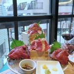 渋谷 道玄坂 肉寿司 - 馬刺し4種大鉢