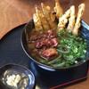 よもぎうどん - 料理写真:よもぎ牛すじ肉ごぼう天うどん 780円
