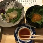 sakazukiyakaduchi - 平目昆布締めとべっこう玉子