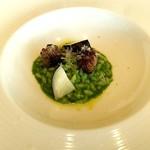 リストランテ アニモフェリーチェ - 馬肉のサルシッチャと黒丸大根・中島菜のリゾット
