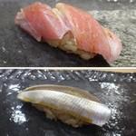67918196 - ◆上:大トロ・・上品な脂を感じ美味しい。 ◆下:コハダ・・軽い〆加減で食べやすい品。