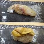 67918219 - ◆上:真鯛・・軽く皮目を炙ったあり、甘みを感じる品。 ◆下:赤雲丹・・唐津の品は美味しいですね。