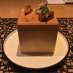 67922765 - 豚足のクロケット、鯵のマリネ ケッパー タピオカのチュイル、新玉ねぎのピュレを塗ったパルメザンのサブレ