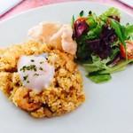 カフェテリアニューヨーク - 料理写真:H29.6月月替わり♪ 温泉玉子をのせたナシゴレン サラダを添えて♡