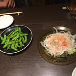 67979639 - 枝豆を炒めた物とサーモンのマリネ
