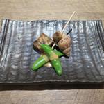 原宿 sora an - いんげん胡麻だれ、穴子の煮こごり、ばい貝のうま煮(お通し)