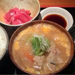 めしの助 - かきたま豚汁定食(まぐろ中おち)