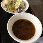 本格韓国料理焼肉 無双 - サラダにお味噌汁