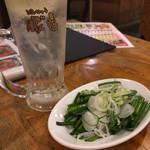 50円やきとり 豚゛竜 - 生レモンハイとねぎ盛り