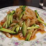 中華料理鉄人の店 天天 - クラゲと胡瓜の和え物