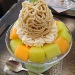 68015305 - (2017年6月 訪問)モンブランパフェ『厳選メロン』1200円。熟した甘い2種のメロンと無糖の生クリーム、芳醇なマロンクリーム、栗ソフトクリームの組み合わせパフェでした。