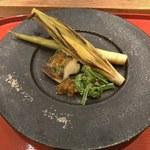 季旬 鈴なり - ⑥鱸とヤングコーンと姫竹の焼き物