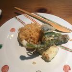 千寿竹やぶ - 海老かき揚げと野菜三点(1300円)