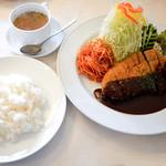 洋食 グラッチェ - 讃岐夢豚のポークカツレツとライス、スープ