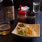 清香園 - セットのサラダとビール