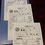 中国上海料理 豫園 - オーダーはファミレスのように、ハンディターミナルで行われ、伝票もプリンターで発行される。