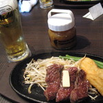 1ポンドのステーキハンバーグ タケル - 福島バル・ハラミステーキ