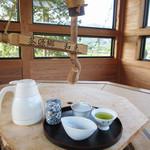 和束茶カフェ - 新茶セット(急須/湯さまし/湯のみ/ポット/茶葉/お茶の淹れ方付)