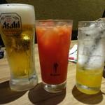 天ぷら海鮮友福 - 生ビール(中)、生トマトチューハイ、ゆずソーダ