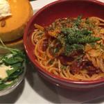 星乃珈琲店 - 料理写真:パスタ&パンケーキプレート ¥1,000-
