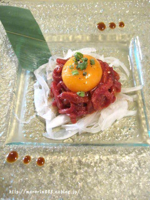 下曽根焼肉 タンカラテイル - ●タンユッケはフレンチみたいな盛付け