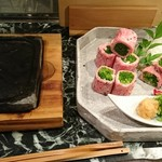 魚貝三昧 げん屋 - ほうらい牛の石焼きステーキ