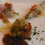 La cucina del Covo - 前菜3種(カンパチ、チカのマリネ、鶏のパン粉香草焼き)