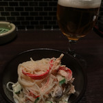 串処 権鹿 - ちょい飲みSET 980円 の『本日の小鉢 スパゲティサラダ』。