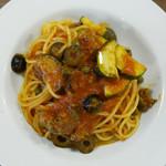 68091014 - 仔羊のサルシッチャとオリーブ ケッパーのトマトソース スパゲッティ