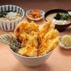 鶏と旬野菜の天丼と小うどん(温・冷)