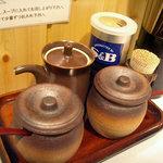 つけ麺 玄瑞 - 「玄瑞」卓上の調味料
