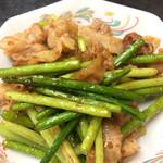 藤田屋 - ニンニクの芽と豚肉の炒め物、私ニンニクの芽 好きです。美味しかったです。
