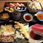 鮨勝 - 鮨勝セット(握り+天ぷら+そば+茶碗蒸し)1500円