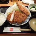 とんかつ 田 - 上ロース定食+鯵フライ半身