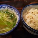 68123408 - 牛タン厚切定食のテールスープと麦飯