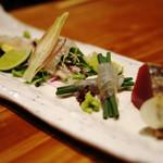 夢酒みずき - 本日のお造り(鰹の塩たたき、コチ、鯛一郎クン、アイナメ、メバチマグロ)