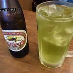 ときわ食堂 - キリンラガー大瓶&緑茶ハイ大