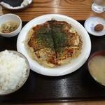 峠道 - お好み焼き定食670円