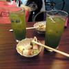 酉の市 - 料理写真:抹茶ハイ350円とお通し
