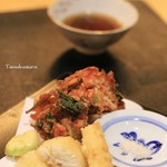 宵山 むらさき - オコゼの天ぷらと桜エビのかき揚げ
