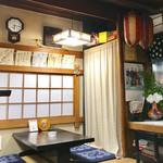 むさし - 紫陽花とサインが飾られた店内