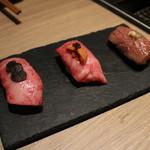 神楽坂焼肉 Kintan - 和牛寿司の3貫食べ比べ