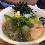 68187677 - 三色丼(クロダイ)¥1000 味噌汁、サラダ、漬物付き