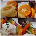 サンセット - *オレンジは種が多くて・・(^^;) *ご飯の上には温玉がのせられ、TKGのように頂けます。 *オニオンフライは揚げたてで美味しい。